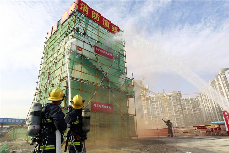 北区2014年施工现场消防演练落地中建三局一公司施工现场
