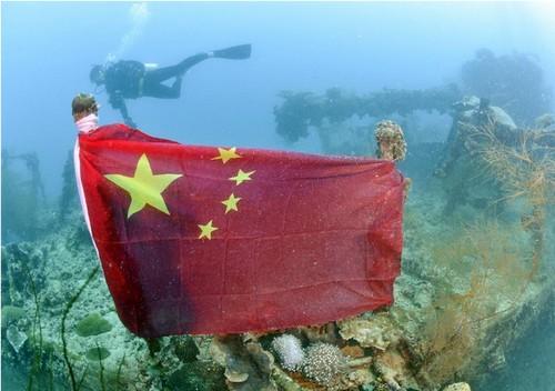 日媒:帕劳海底日本沉船上的中国国旗被撤掉