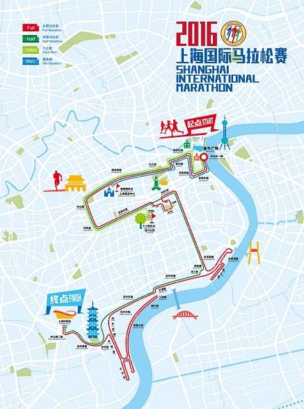 2016上海国际马拉松赛线路图