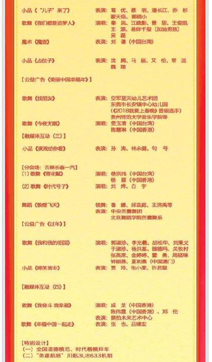 2019年央视春晚节目单
