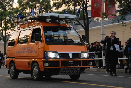 欧洲无人驾驶智能汽车抵达上海世博会高清图片